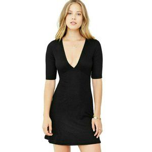UO Silence + Noise Black Ribbed Knit V Neck Dress